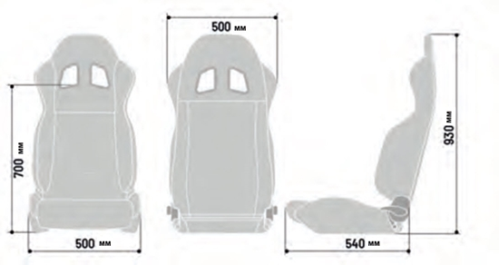 SPARCO R100 SEAT DIMENSIONS